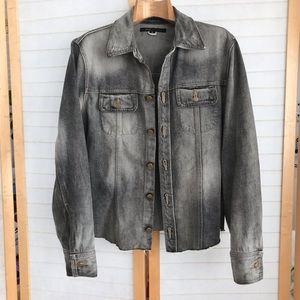 Sz S Marc Jacobs grey jean jacket is grunge city